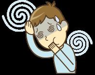 脳脊髄液減少症による吐き気のイラスト